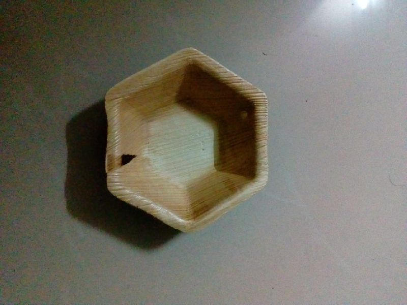 Hexagonal Areca Leaf Bowl