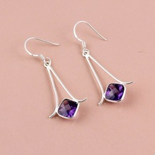 Faceted Amethyst Gemstone earring