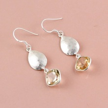Faceted Citrine Gemstone earring