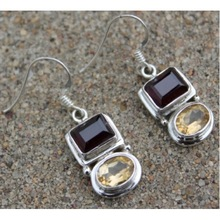 Garnet And Citrine Earring