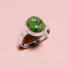 Green Copper Turquoise Silver Ring