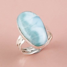 Larimar Gemstone Silver Ring