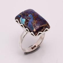 Natural Purple Copper Turquoise silver ring