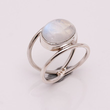 Natural rainbow moonstone silver ring