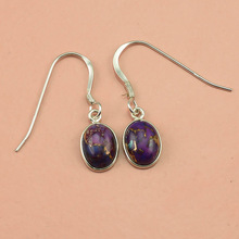 Purple Copper Turquoise Earrings