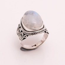 Rainbow Moonstone Gemstone Silver ring