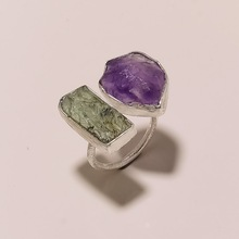 Raw Gemstone Silver Ring