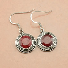 Ruby wedding silver earrings