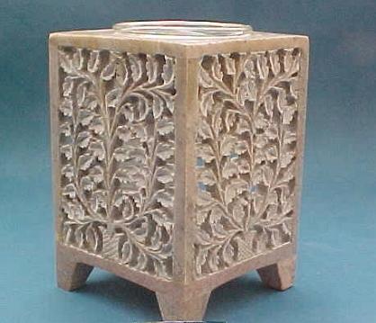 Tea Light Holder Carved Square