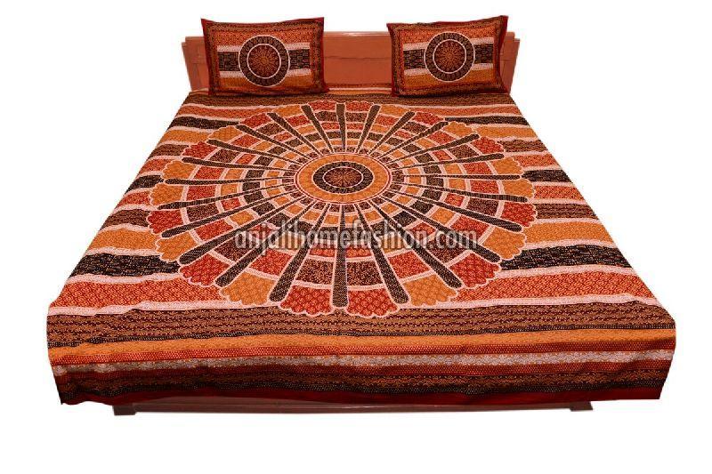 Wholesale Bagru Print Bed Sheets Supplier In Panipat India - Orange print sheets
