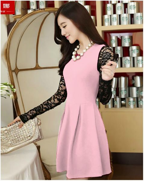 D-108 Oppo Pink One Piece Frock Dress