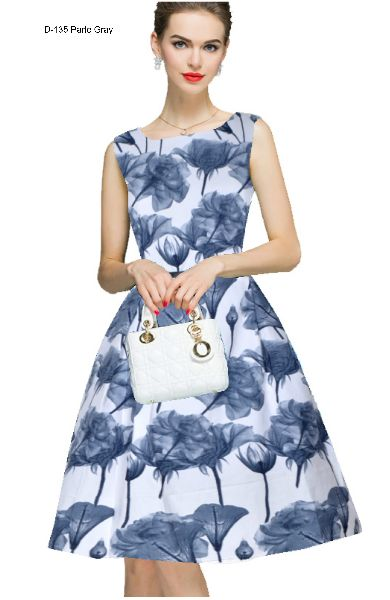 D-135 Parle Gray One Piece Frock Dress