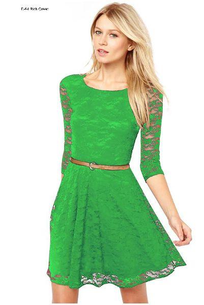 D-64 Rich Green One Piece Frock Dress