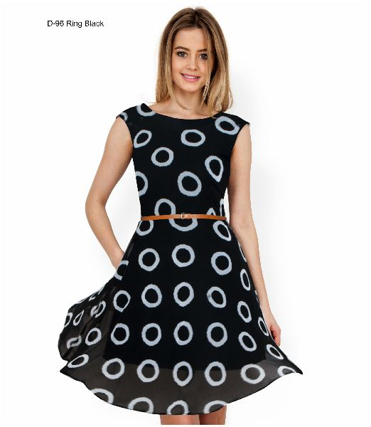 D-96 Ring Black One Piece Frock Dress