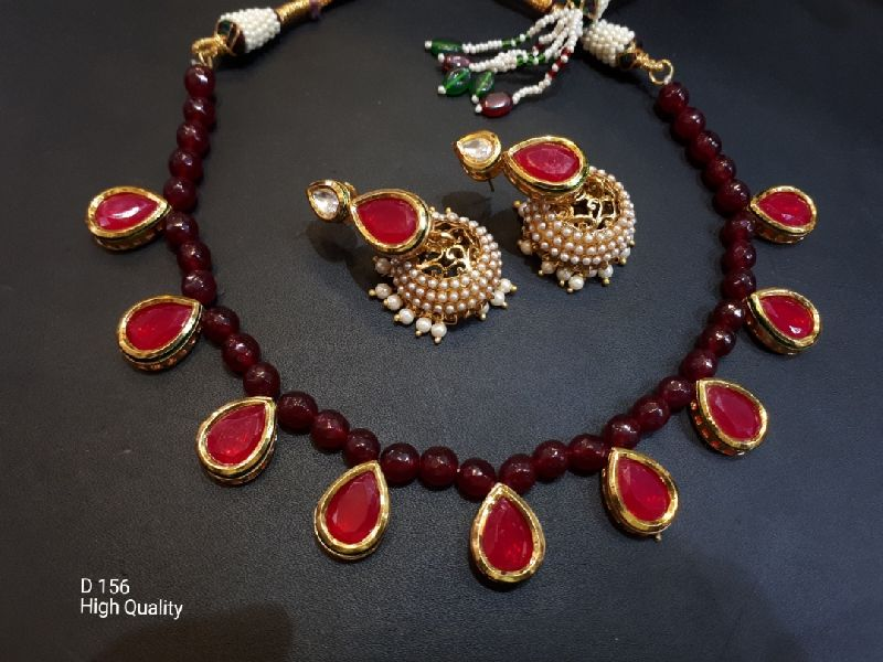 Party Wear Stone & Kundan Necklace Set 14