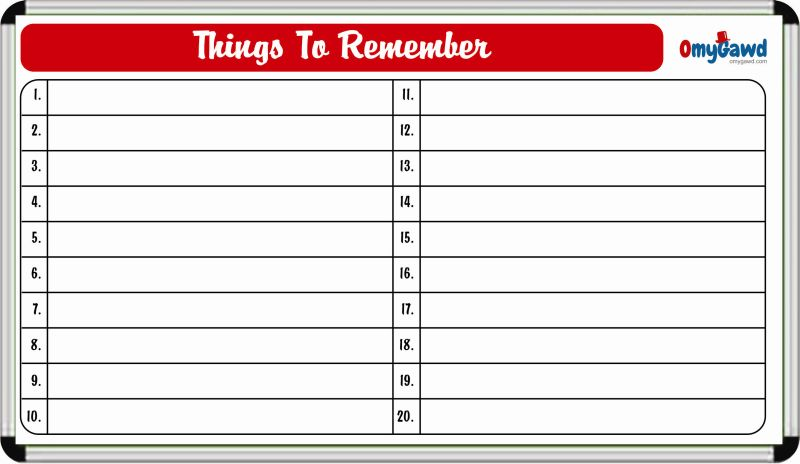 Things To Remember Board