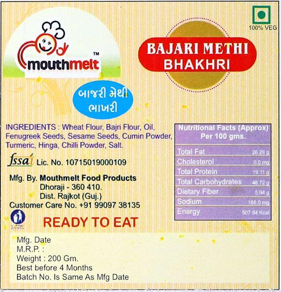 Ready To Eat Bajari Methi Bhakhri - Manufacturer Exporter