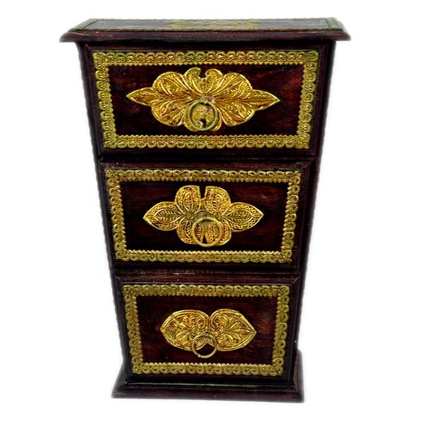 Brass Fitted Three Drawer Chest