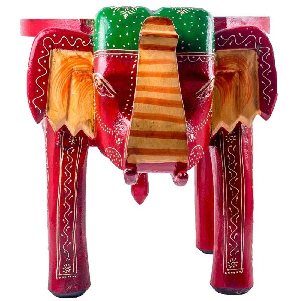 Multicolor Wooden Elephant Stool
