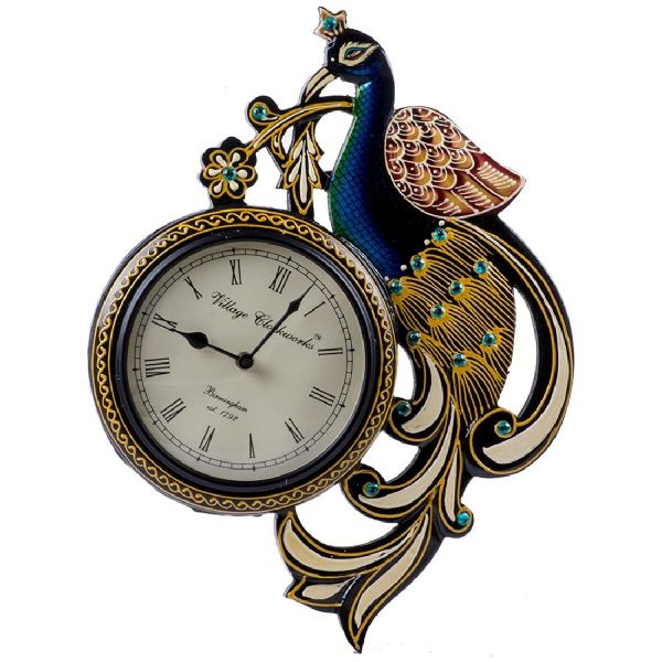 Peacock Design Wooden Clock