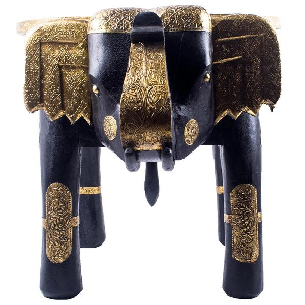 Wooden Elephant Stool With Brass Fittings