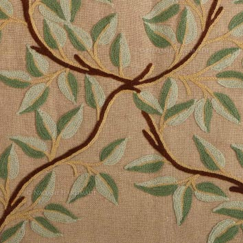Almond Crewel Wool Embroidered Natural Linen Fabric
