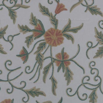 Audrey Handmade Crewel Wool Embroidered Cotton Fabric