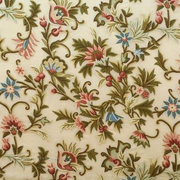 Chashma Crewel Work Hand Embroidered Organza Silk Fabric