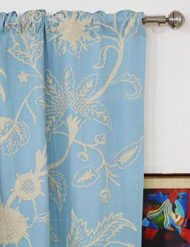 Chelsea Hand Embroidered Cotton Crewel Curtain Fabric