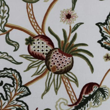 Chelsea Crewel Work Hand Embroidered Cotton Fabric