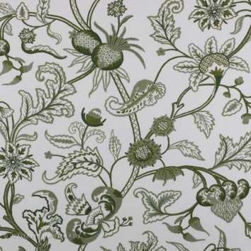 Chelsea Green Crewel Embroidery Handmade Cotton Fabric