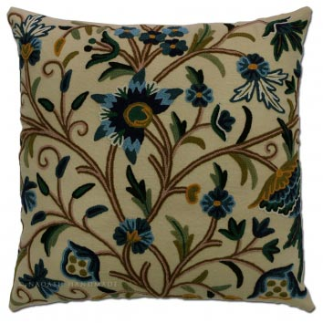 Danzdaar Cotton Crewel Hand Embroidered Cushion Cover