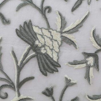 Danzdar Natural Crewel Hand Embroidered Organza Silk Fabric