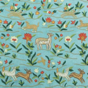 Deer Crewel Embroidery Work Handmade Cotton Velvet Fabric