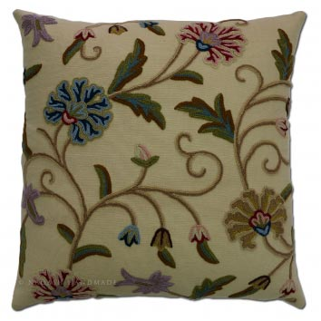 Drass Cotton Crewel Hand Embroidered Cushion Cover