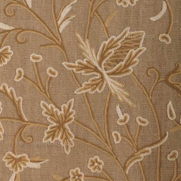Estonia Crewel Wool Embroidered Natural Linen Fabric