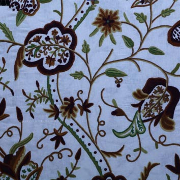 Gurez Crewel Wool Embroidered Linen Fabric