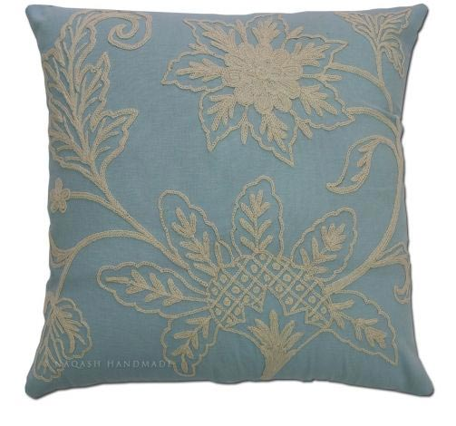 Ocean Cotton Crewel Wool Embroidered Cushion Cover
