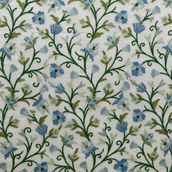 Pampore Crewel work Hand Embroidered Organza Silk Fabric