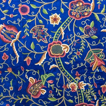 Rahim Crewel Embroidery Work Handmade Cotton Velvet Fabric