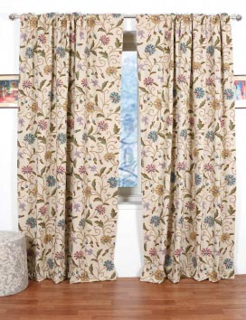 Sosan Hand Embroidered Cotton Crewel Curtain Fabric