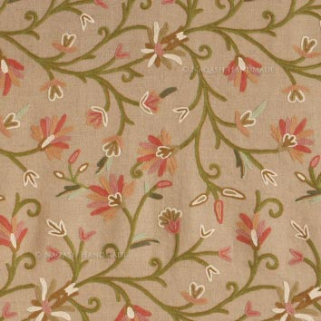 Summer Wool Embroidered Natural Linen Fabric