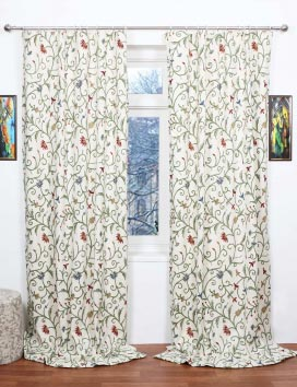 Techmal Hand Embroidered Cotton Crewel Curtain Fabric
