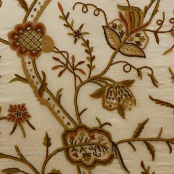 Varmul Crewel Work Hand Embroidered Organza Silk Fabric