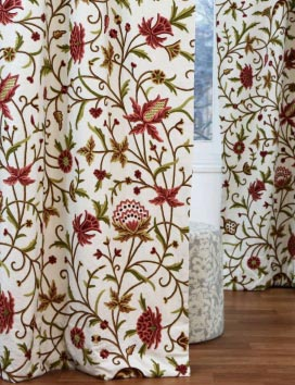 Wardar Hand Embroidered Cotton Crewel Curtain Fabric