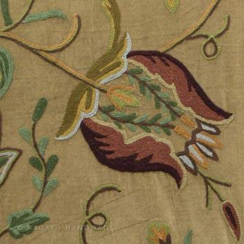 Watlab Crewel Embroidery Work Handmade Cotton Velvet Fabric