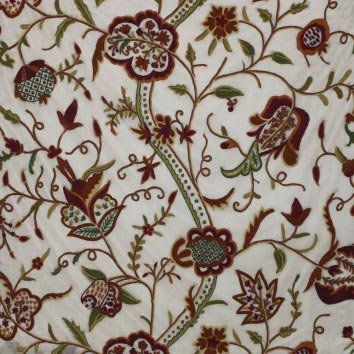 Watlab Hand Embroidered Crewel Work Organza Silk Fabric