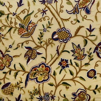 Woodmark Crewel work Hand Embroidered Organza Silk Fabric