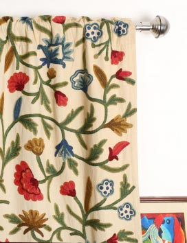 Wular Hand Embroidered Cotton Crewel Curtain Fabric