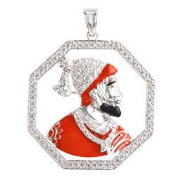 925 Sterling Silver Shivaji Maharaj Pendant 03